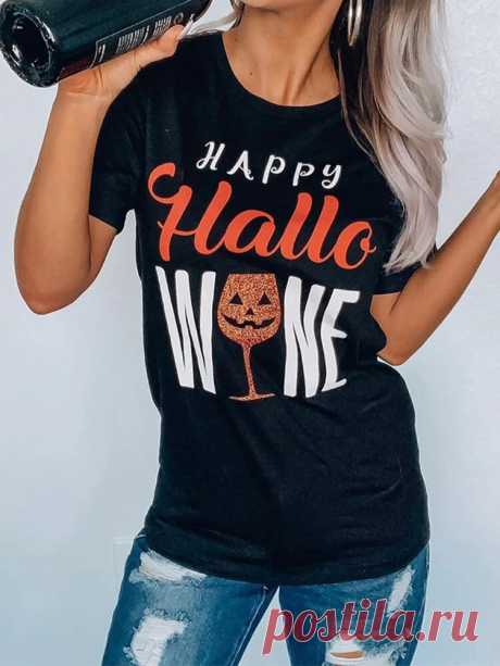 Women Halloween Funny Goblet Letter Print O-Neck Casual Short Sleeve T-Shirts - US$15.99