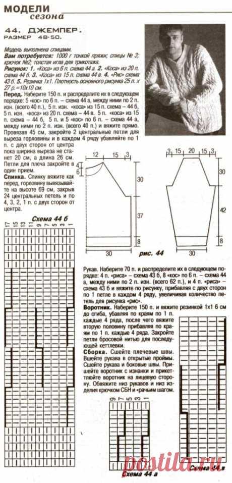 МК по вязанию спицами мужского джемпера с косами с подробным описанием и схемой