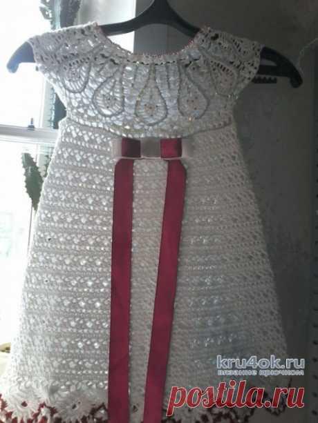 Вязаное платье для девочки 3-4 лет. Работа Оксаны