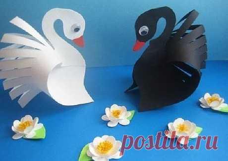 Лебеди из бумаги - Поделки с детьми | Деткиподелки