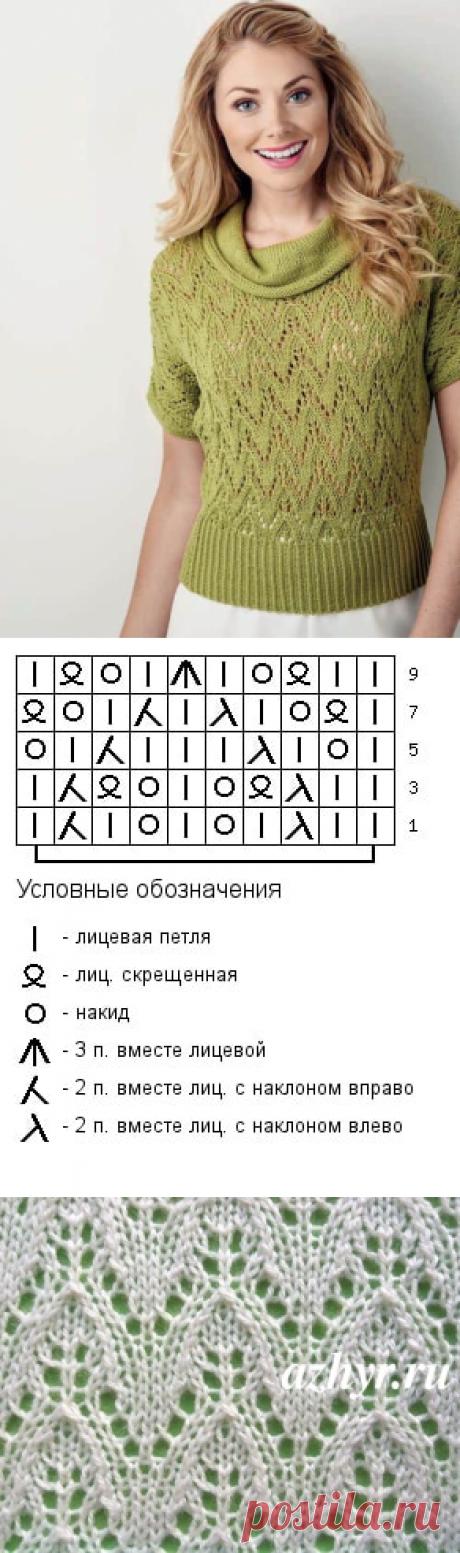 Ажурный узор спицами для пуловера | Ажурные Узоры