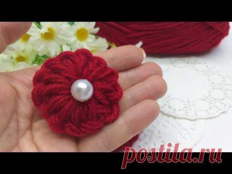 DIY 🌺 Цветы из пряжи БЕЗ спиц и крючка #2 | Easy Woolen Flower 🌺 - YouTube