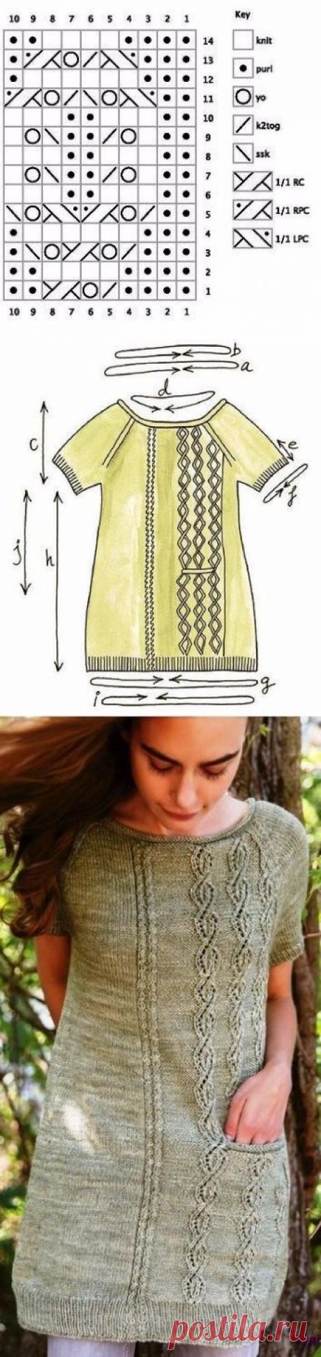 Платье туника с узором из объемных косичек