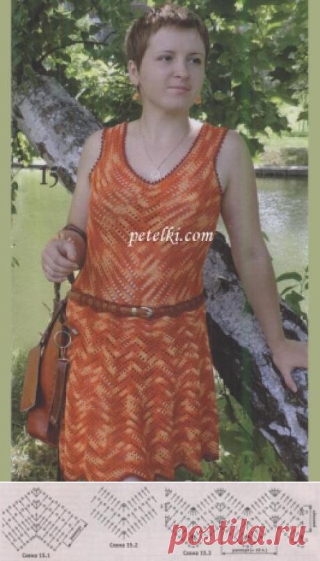 Летнее платье вязаное сверху вниз