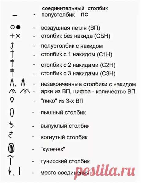 обозначения при вязании крючком– Google Поиск