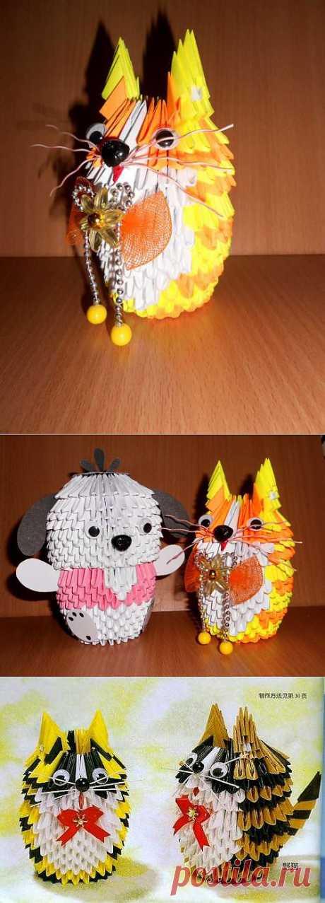 КОТИК - ПОДАРОК своими руками - Модульное оригами, Схема сборки :: Блог Лики: Своими руками