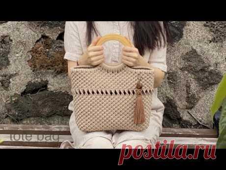 DIY   macrame tote bag   마크라메 토트 백 가방