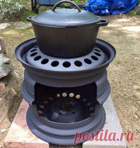 Дровяная плита из автодисков для летней кухни.
