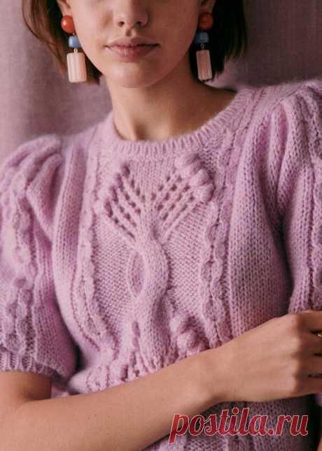 Как связать модный джемпер от французских дизайнеров Sezane, смотрите на ютуб канале Рукоделие Svetlana Loseva. Схема.