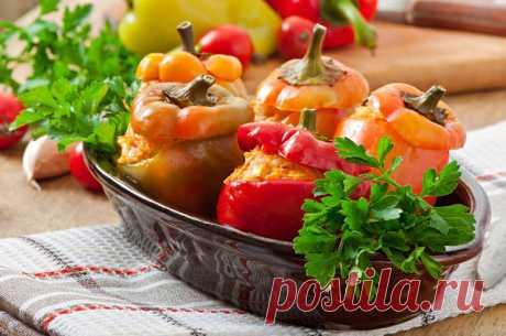 Запеченные сладкие перцы с фаршем | Вкусные рецепты