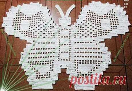 Бабочка-коврик, или салфетка. Схема вязания крючком
