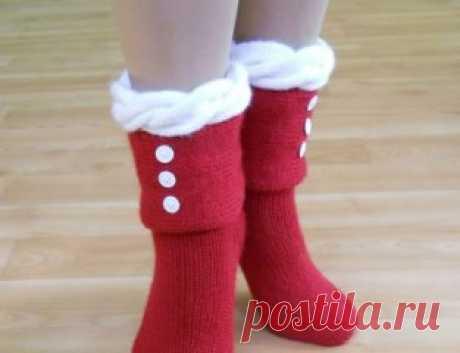 Оригинальные вязаные носочки. Идеи для творчества.