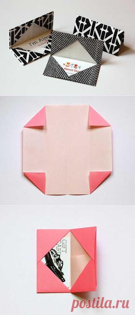 El sobre para la tarjeta de visita. El acento original y simple. El origami - es más difícil crear las cosas simples.