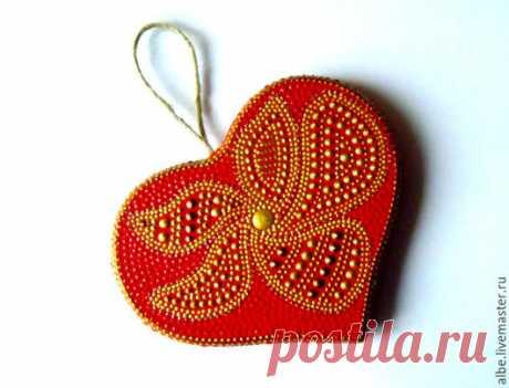 Сердце точечная роспись - ярко-красный, золотой, сердце в подарок, сердечко с росписью
