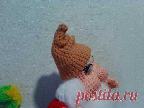 Шапочка для гнома. Cap for the dwarf.  Amigurumi. Crochet.  Амигуруми. Игрушки крючком.