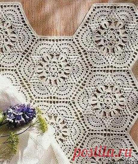 El motivo hermoso hexagonal por el gancho. Tejido por el gancho los motivos con los esquemas | la Labor de punto para toda la familia