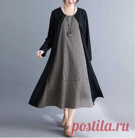 Plus Size Autumn Cotton Linen Plaid Black Spliced Elegnat Lady Long Sl - idetsnkf