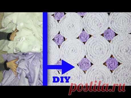 Изготовление ковров / ковров из старого тюля и штор