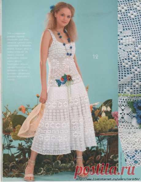 Вязание для женщин. Платье Ромашка филейка