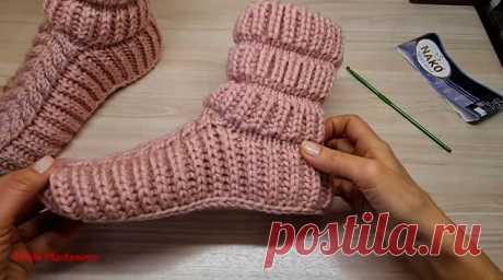 Теплые домашние сапожки-носочки (Вязание спицами) – Журнал Вдохновение Рукодельницы