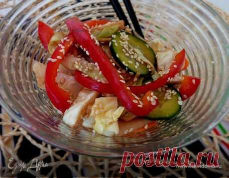 Быстромаринованные овощи . Ингредиенты: перец болгарский красный, сахар, вода