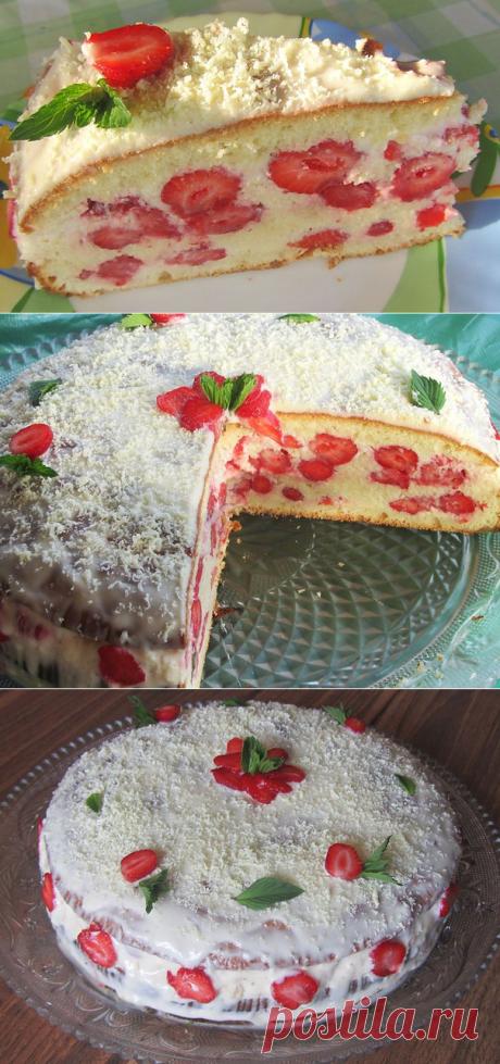 Июньский торт со свежей клубникой