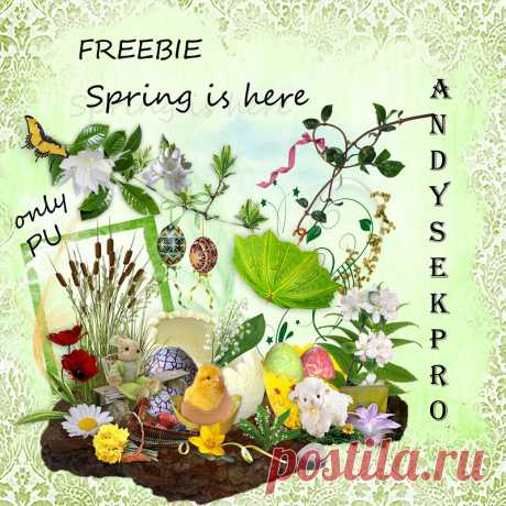 Яркий пасхальный скрап-набор «Spring is here»