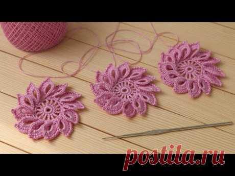 Простой ЦВЕТОК крючком МАСТЕР-КЛАСС вязание для начинающих how to crochet a flower for beginners