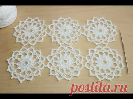 Круглый мотив крючком - урок по вязанию - Crochet motifs for beginners