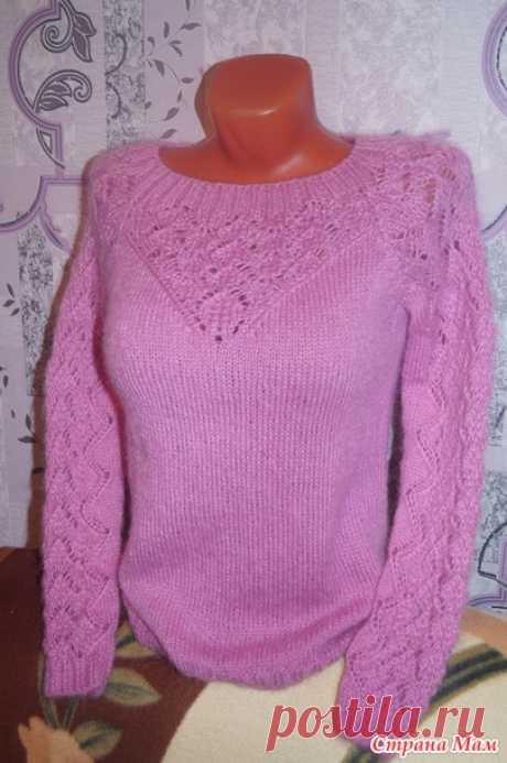 Ажурный пуловер с воротом-хомутом Доброе время суток! Меня зовут Катя, ко мне на ты.  Вяжем вот такой пуловер Опрос в Стране Мам: Приглашаю на он-лайн кофточки со съемным воротом-хомутом.  Нужен он-лайн?