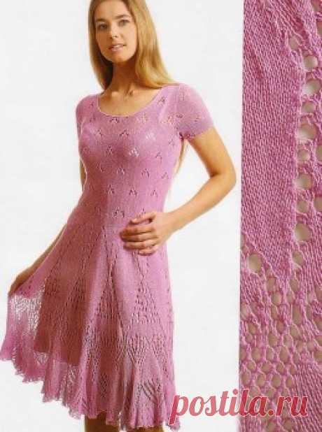 Knitting by a hook and spokes - the Dress with an openwork skirt