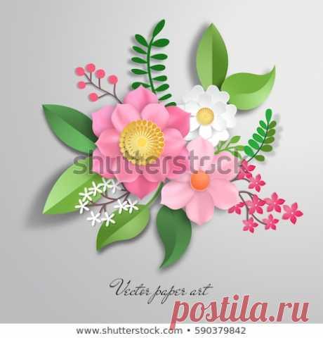 Стоковая векторная графика «Vector Paper Cut Design Flower Composition» (без лицензионных платежей), 590379842: Shutterstock