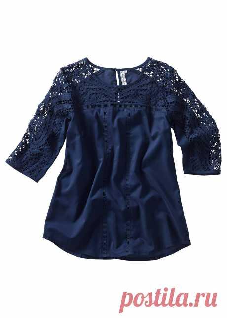 Свободная блузка с рукавами 3/4 - темно-синий