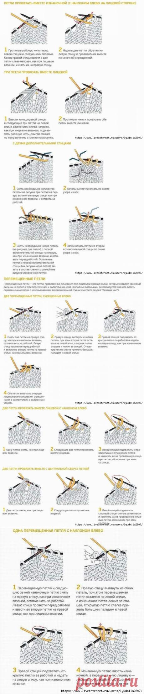 Перемещение петель с наклоном вправо и влево спицами