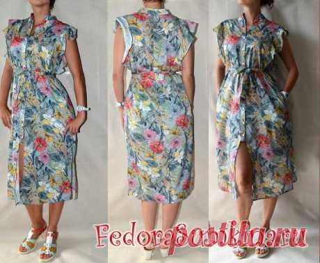 Модное платье-халат яркой расцветки