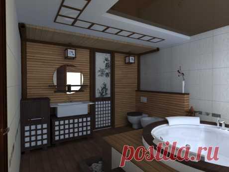Интерьер ванной комнаты в японском стиле. Дизайн и ремонт квартиры, компания Бабич выполнит без нервов и проблем. Наш сайт www.remontr99.ru