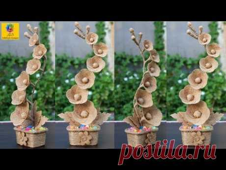 DIY Flower and Flower vase Decoration Idea with Jute Rope   Home Decor Jute Flower Showpiece