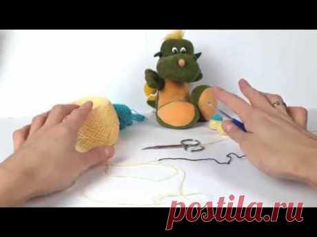 Динозавр крючком. Мастер класс. Crochet dino, crochet toys. (1 Урок. Голова, тело)