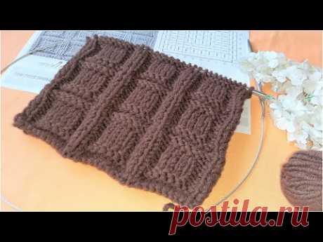 КРАСИВЫЙ УЗОР СПИЦАМИ ДЛЯ ВЯЗАНИЯ МУЖСКИХ ВЕЩЕЙ! Простой Узор КУБИКИ / Simple knitting pattrn