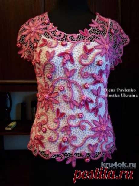 Блуза Летний рассвет в технике ирландского кружева. Работа Елены Павленко