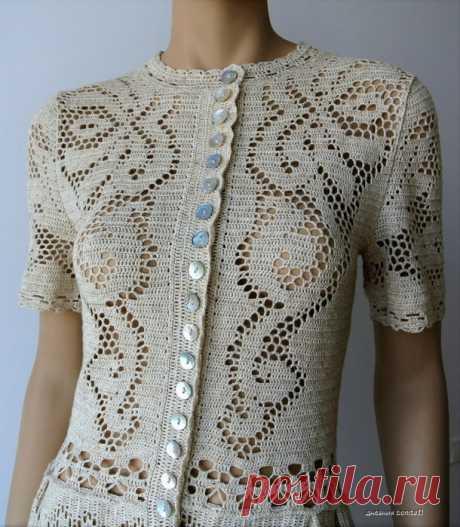 Красивое платье крючком филейной вязкой