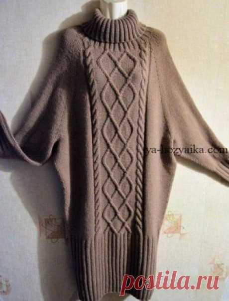 Вязаное платье оверсайз спицами. Платье спицами регланом сверху Вязаное платье оверсайз спицами. Вяжется платье спицами регланом сверху мастер класс