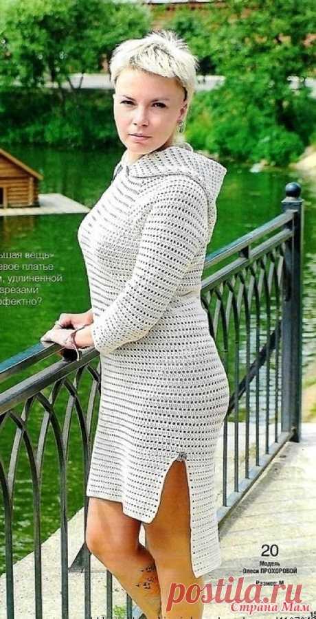 Платье с капюшоном. Автор этого оригинального стильного платья-Олеся Прохорова. Ее девиз-вдохновение ищу в себе. Знакомство с дизайнером Вяжем крючком - №6 2021