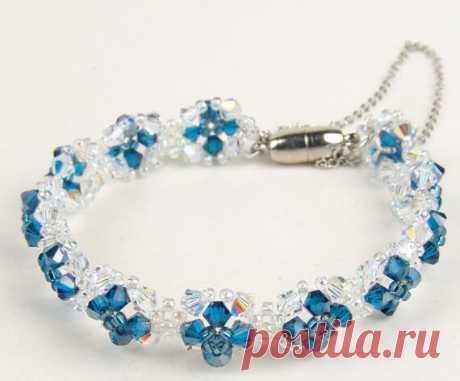 Голубой браслет из бисера ~ Свое рукоделие