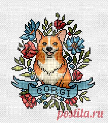 Dog cross stitch pattern PDF/ Corgi funny needlepoint counted | Etsy