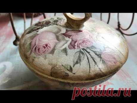DECOUPAGE CON SERVILLETA SOBRE CRISTAL #manualidades #crafts #decoupage #servilletas
