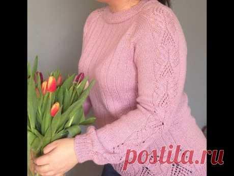 Вяжем спицами красивый ажурный свитер