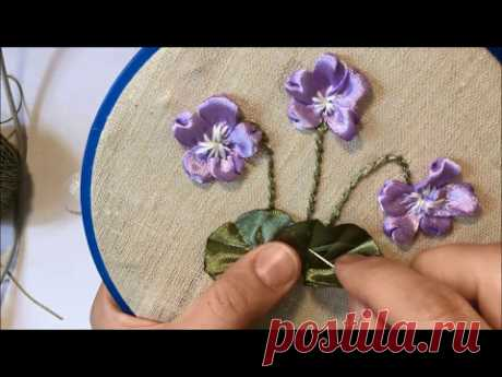 Violet the forest embroidered tapes \/ Violet forest embroidered ribbons