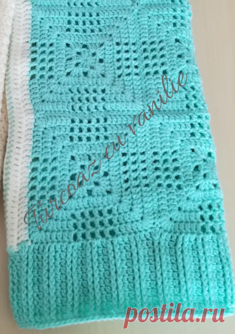 Granny squares sweater- free pattern - Turquoise with vanilla