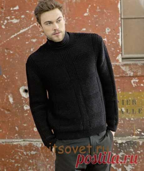 Джемпер мужской вязание спицами - Хитсовет Джемпер мужской вязание спицами. Классический джемпер мужской черного цвета вяжется спицами из пряжи LANG YARNS MERINO 120, состоящей из тонкой мериносовой шерсти. Вам потребуется 850 (900, 950, 1000) грамм или 17 (18, 19, 20) мотков черного цвета, спицы № 3 и 3,5. Короткие круговые спицы № 3.